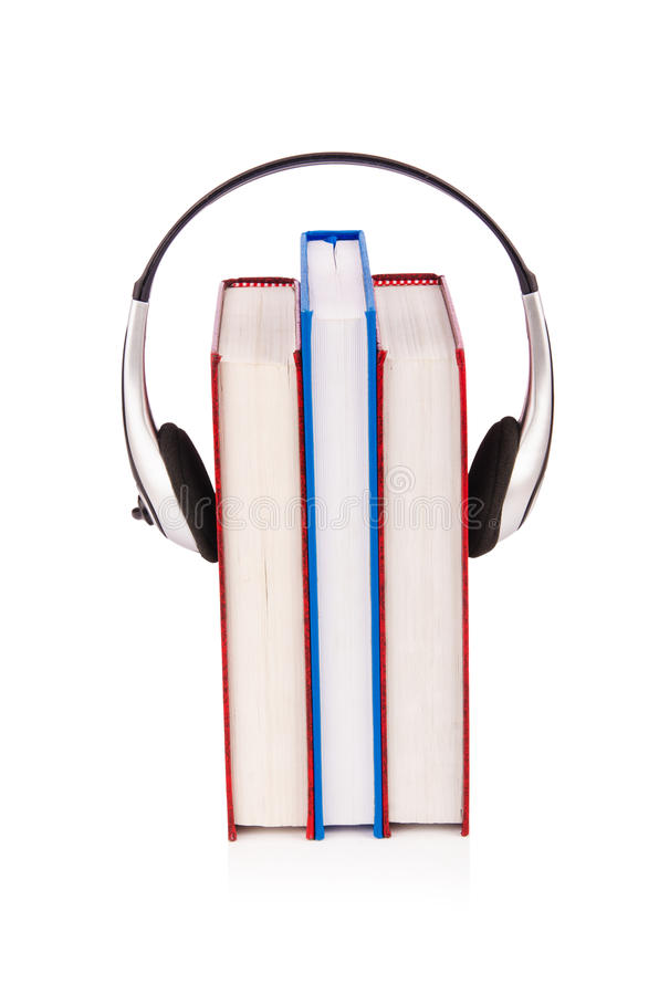 Concept of audio books with earphones