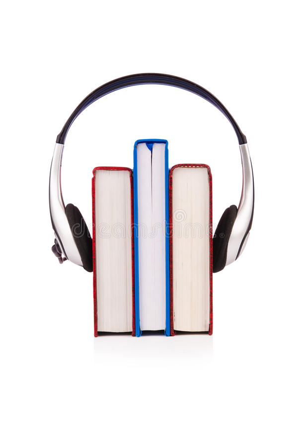 Download Concept Of Audio Books With Earphones Stock Image - Image: 28135435