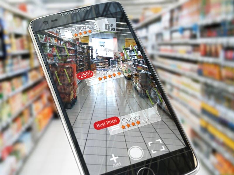 Concept augmenté d'application de vente de réalité P futé mobile illustration de vecteur