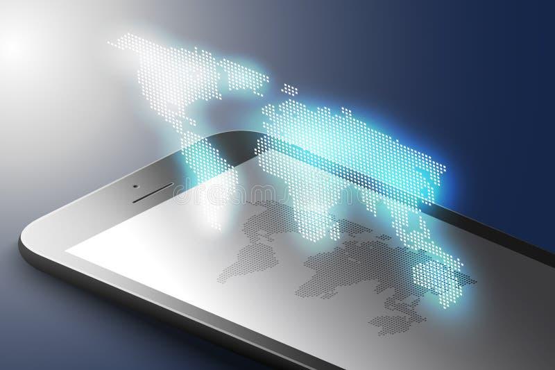 Concept augmenté de vente de réalité Téléphone intelligent de couleur noire avec la carte du monde Fond d'application de l'AR vec illustration de vecteur
