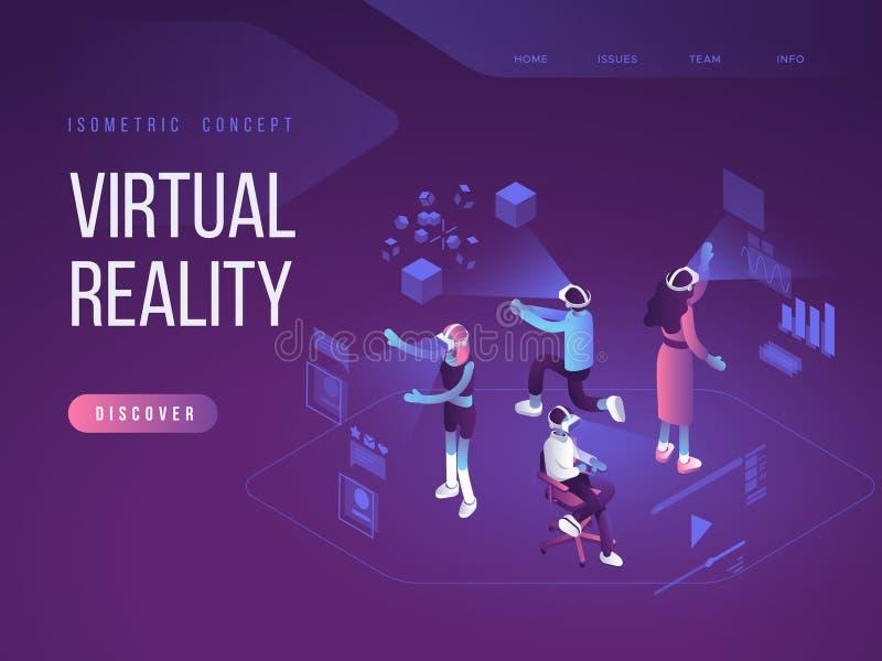 Concept augmenté virtuel en verre de réalité avec des personnes apprenant et amusant Calibre de page d'atterrissage vecteur 3d illustration libre de droits