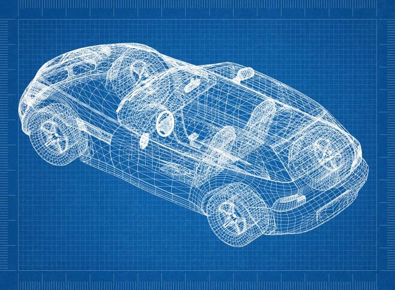 "Concept auto blauwdruk†""3D perspectief royalty-vrije stock fotografie"