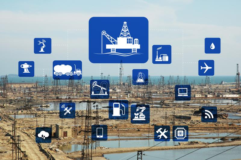 Concept of automation in oil and gas industry. The concept of automation in oil and gas industry royalty free stock images