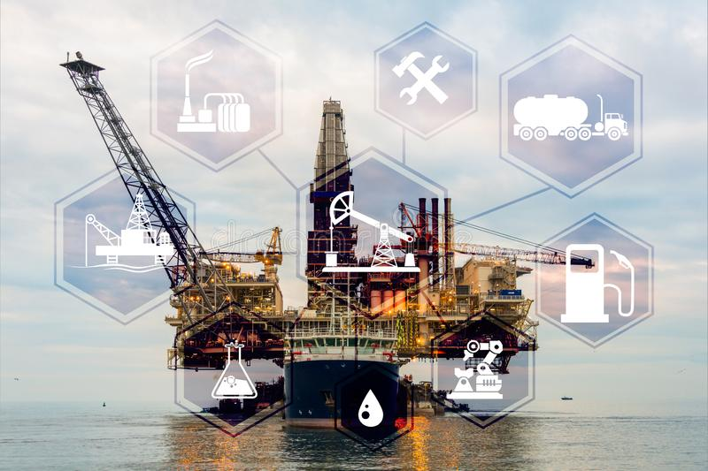 Concept of automation in oil and gas industry. The concept of automation in oil and gas industry royalty free stock photography