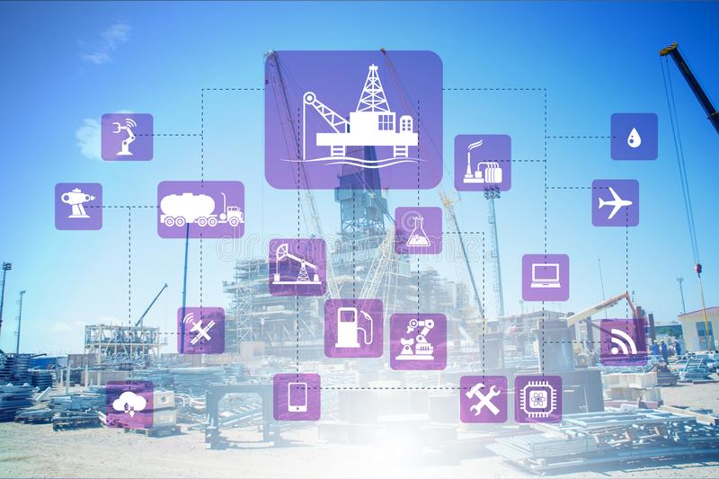 Concept of automation in oil and gas industry. The concept of automation in oil and gas industry stock images