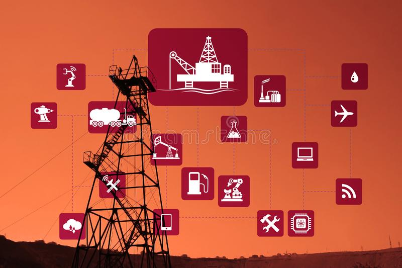 Concept of automation in oil and gas industry. The concept of automation in oil and gas industry stock photography