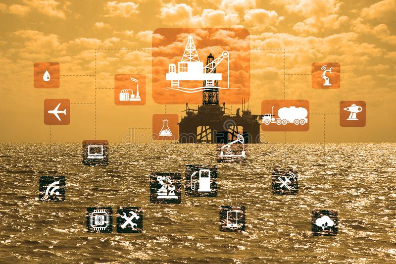 Concept of automation in oil and gas industry. The concept of automation in oil and gas industry stock image