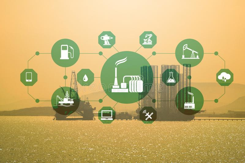 Concept of automation in oil and gas industry. The concept of automation in oil and gas industry stock photo