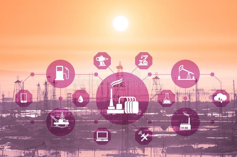 Concept of automation in oil and gas industry. The concept of automation in oil and gas industry stock photos