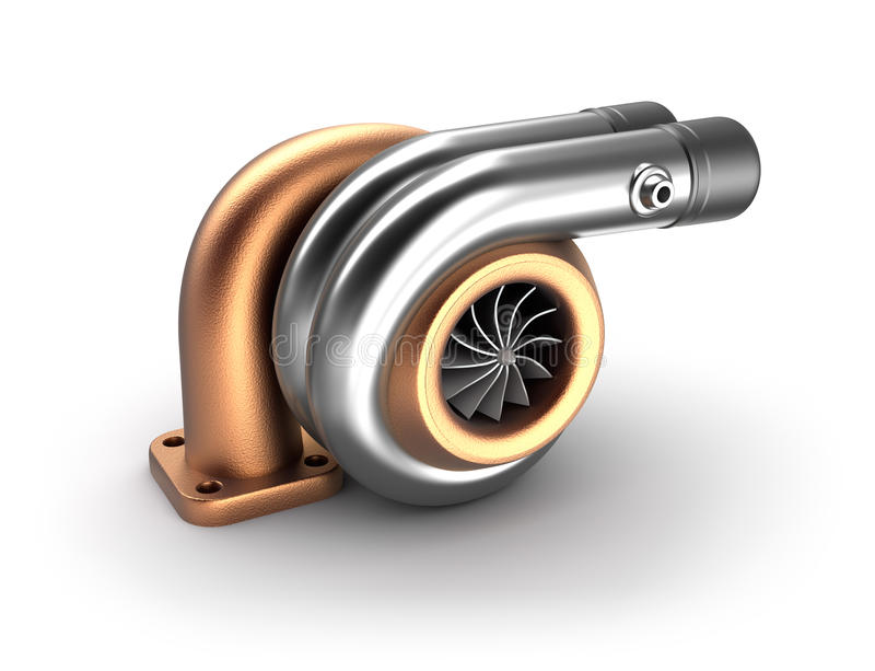 Concept automatique de la turbine 3D. Turbocompresseur en acier sur le blanc. illustration libre de droits
