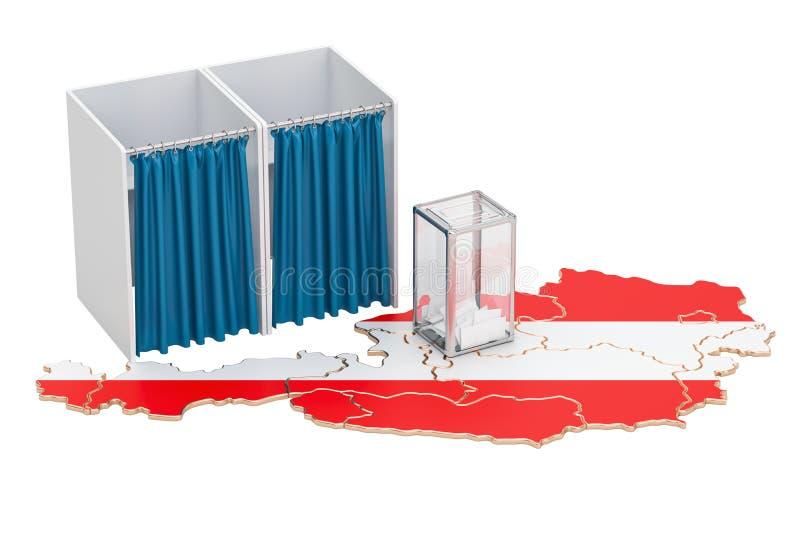 Concept autrichien d'élection, urne et cabines de vote sur le m illustration de vecteur