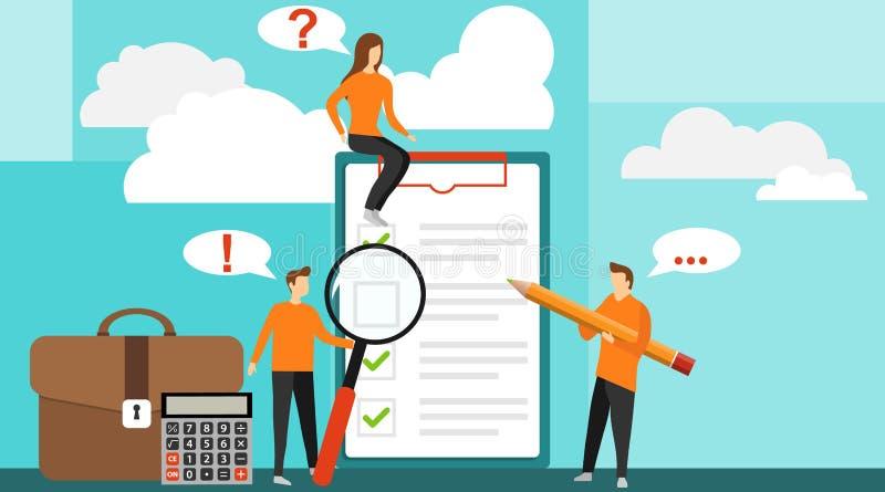 Concept avec l'essai de qualité et le rapport de satisfaction Homme positif d'affaires avec un crayon géant sur son épaule tout p illustration stock