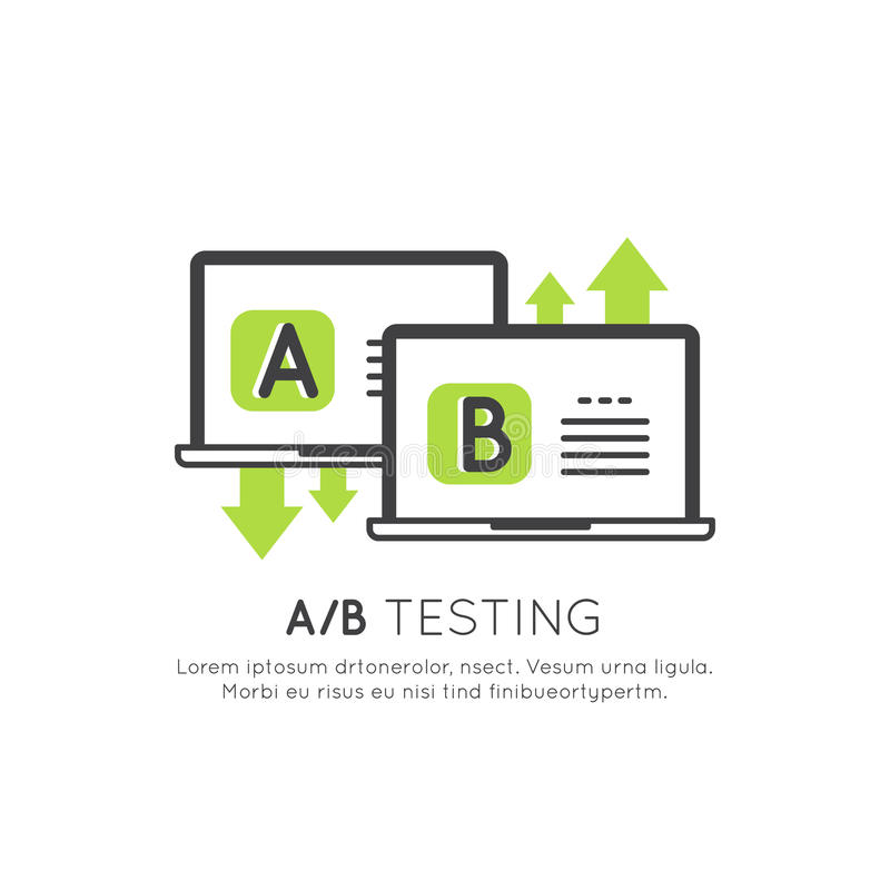 Concept of A/B Testing, Bug Fixing, User Feedback, Comparison Process, Mobile and Desktop Application Development. Vector Icon Style Illustration Concept of A/B royalty free illustration