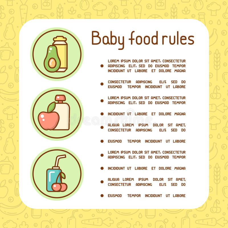 Concept of baby food rules vector illustration