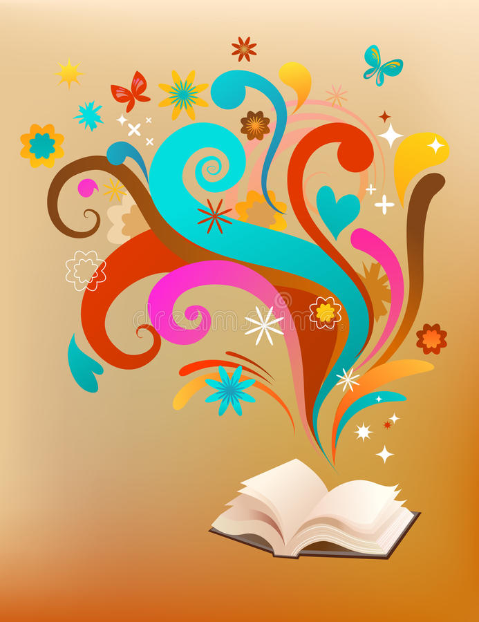 Concept background with a book and design elements stock illustration