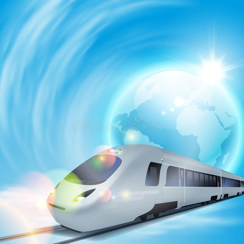 Concept background with high-speed train and the globe. stock photo