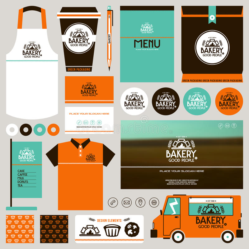 Concept for bakery identity mock up template vector illustration