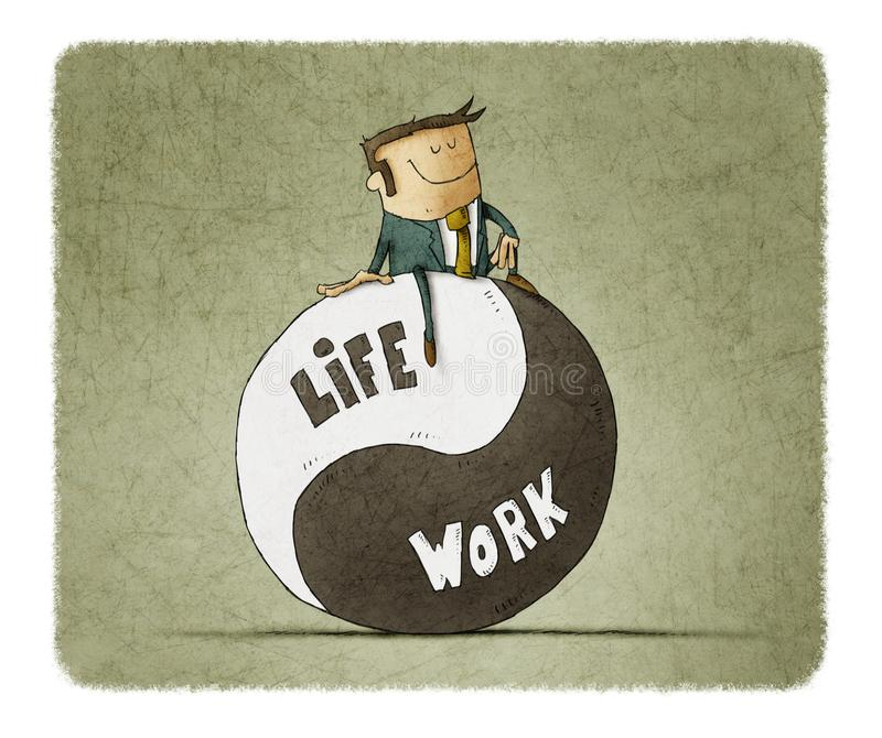 Concept about balance work and life. stock illustration