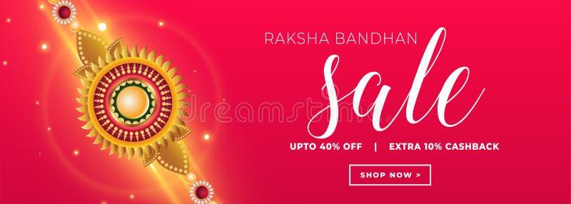 Concept bandhan de bannière de vente de Raksha avec le bracelet d'or de rakhi illustration libre de droits