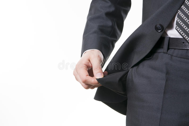 Concept of bankruptcy - empty pocket stock photos