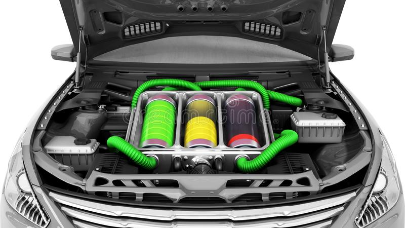 concept of battery capacity of an electric car batteries under t stock illustration