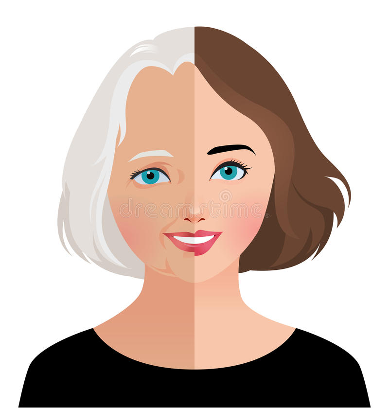 Concept beauty and rejuvenation of skin aging. Stock vector illustration of beauty and skin care woman face before and after rejuvenation facelift