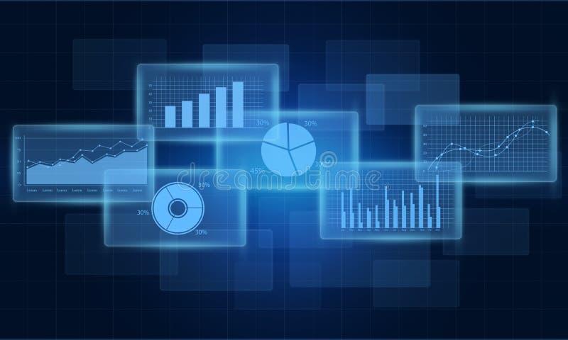 Concept bedrijfs financieel grafiek en rapport als achtergrond royalty-vrije illustratie