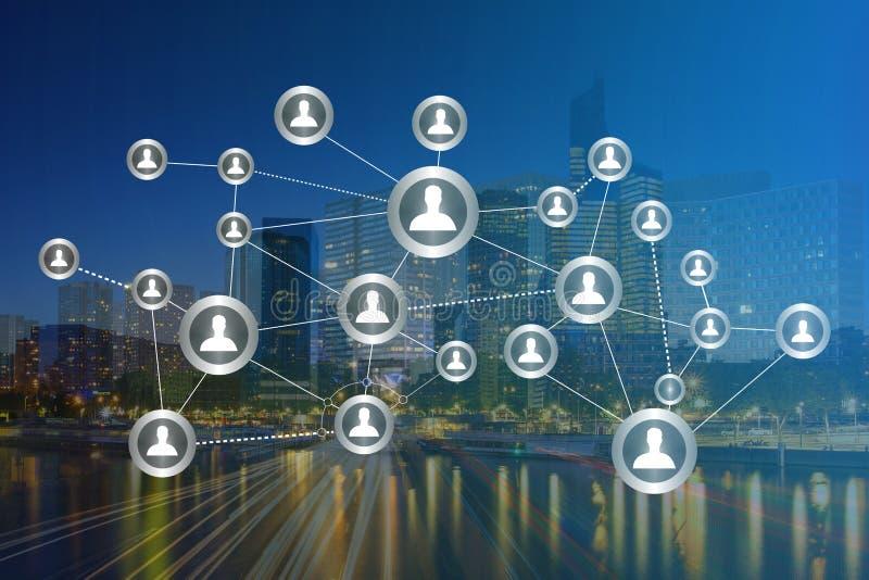 Concept bedrijfs internationale netwerkinterface met financiën stock foto