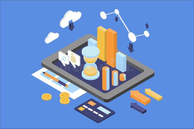 Concept bedrijfsanalytics Financi?n en beheersthema Digitale tablet met ronde grafiek, het groeien grafiek, zandloper stock illustratie