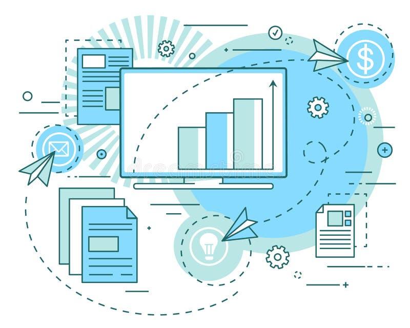 Concept bedrijfsideeën, analytics van de opbrengstgroei, presentatie Winstanalyse, effecten, investeringen lineair art. stock illustratie