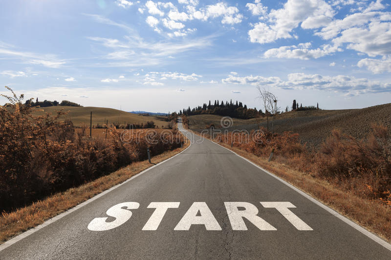 Concept begin your journey on the road stock photography