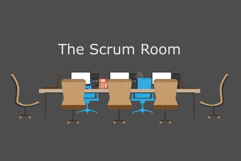 Concept Behendig proces, het teamvergaderingen van de scrumruimte, groepswerk, brainstorming vector illustratie