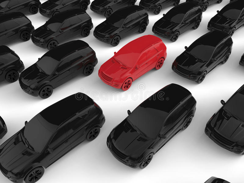 Concept of being stuck in traffic. 3D render illustration of the concept of being stuck in traffic. The composition is isolated on a white background with royalty free illustration