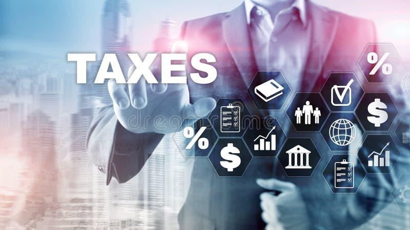Concept belastingen door individuen en bedrijven zoals vat, inkomen en vermogensbelasting wordt betaald die Belastingsbetaling De vector illustratie