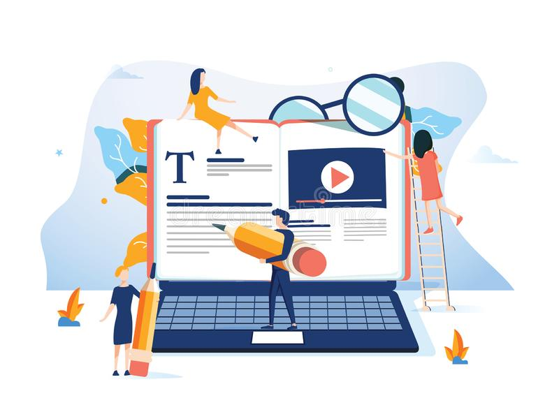 Concept beroepsopleiding, onderwijs, videoleerprogramma voor webpagina, banner, presentatie, sociale media stock illustratie