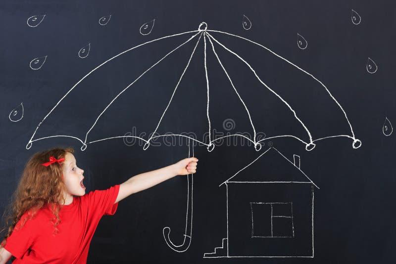 Concept bescherming haar huis stock fotografie