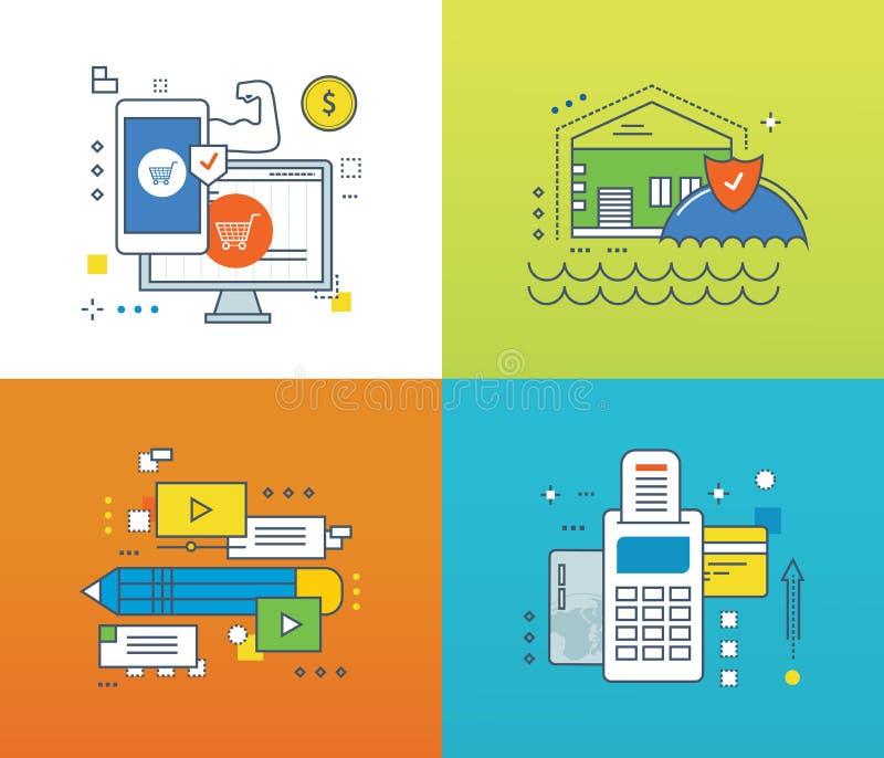Concept - bescherming van betaling, methodes, verzekering, videomededelingen stock illustratie