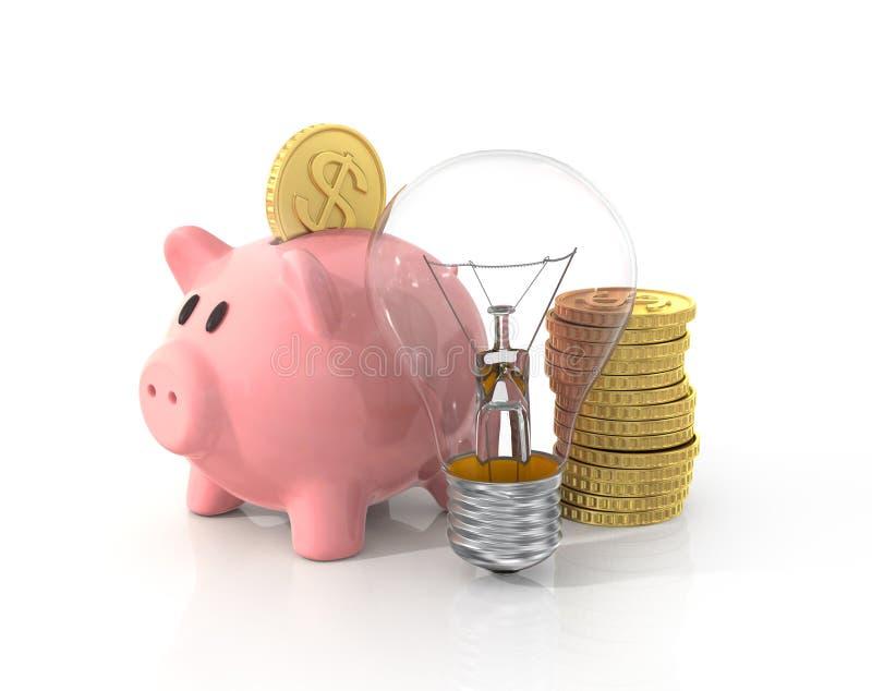 Concept besparingsgeld op de energie royalty-vrije illustratie
