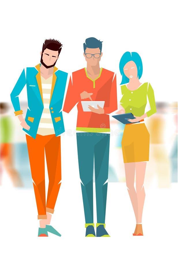 Concept bespreking tussen jongeren stock illustratie
