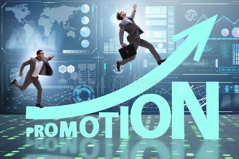 Concept bevordering met zakenman stock foto