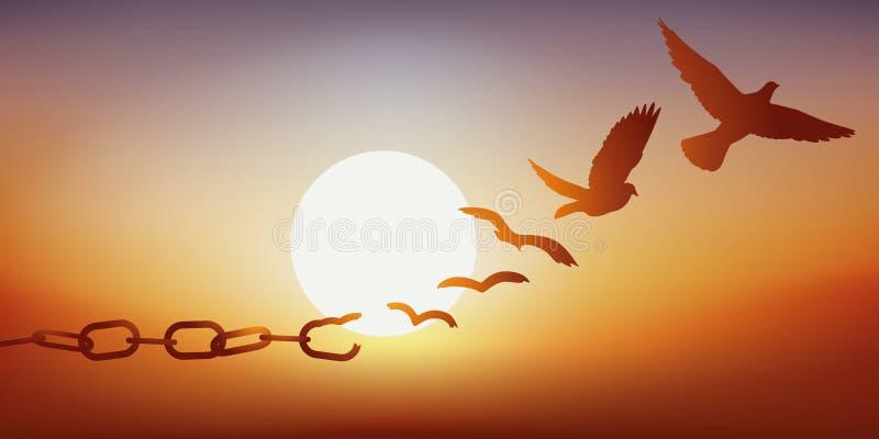 Concept bevrijding met een duif die door zijn kettingen, symbool ontsnappen van gevangenis te breken stock illustratie