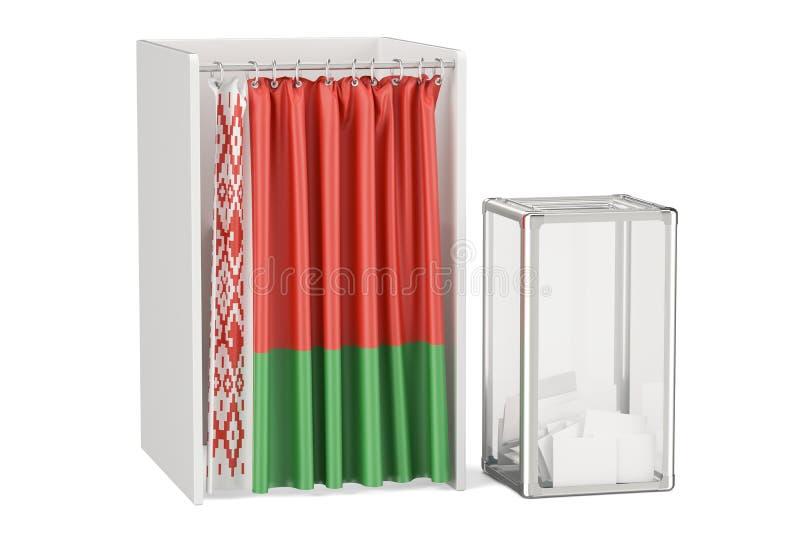 Concept biélorusse d'élection, urne et cabines de vote avec illustration stock