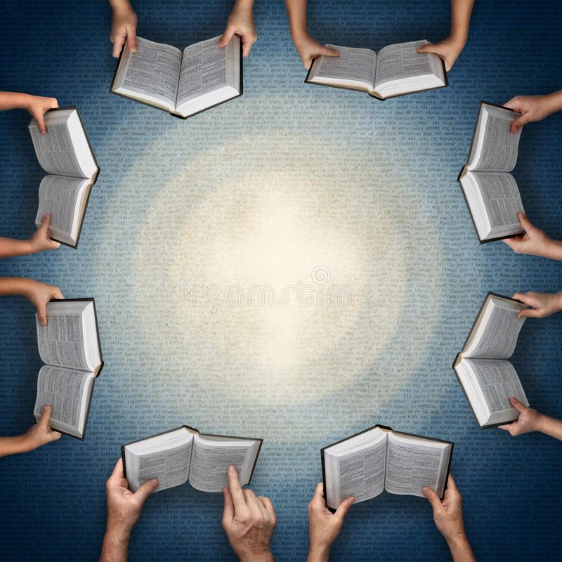Concept for Bible study in the family or in class. Hands of adults and children holding Bibles open for reading on the background of Greek NT text. Concept for vector illustration