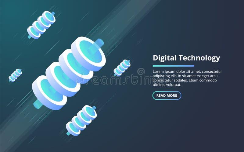 Concept of big data processing, energy station of future, server room rack, data center isometric illustration. vector illustration