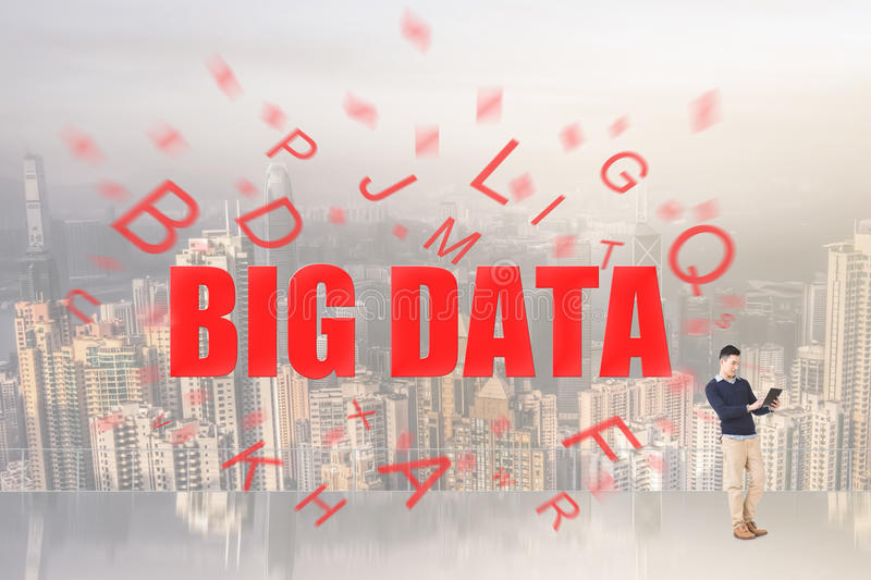 Concept of big data. With text come from a man's digital device stock photo