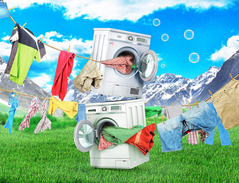 The concept of big washing. vector illustration