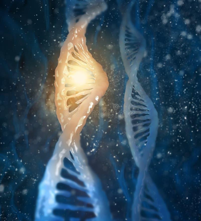 Concept biochemie met DNA-molecule stock foto's