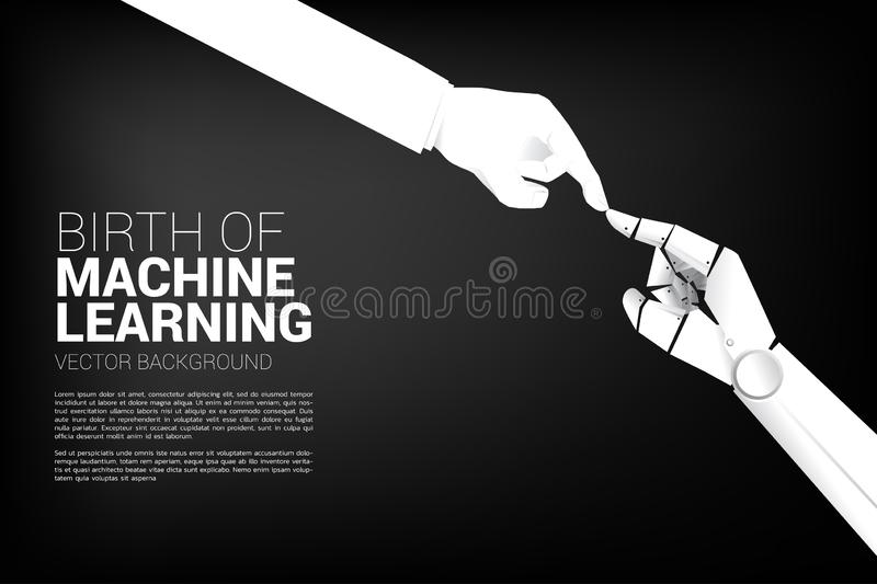 Robot hand touch with human hand. vector illustration