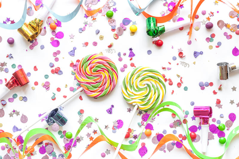 Concept birthday party on white background top view pattern.  stock photo
