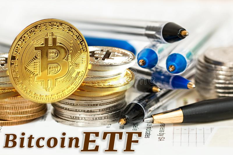 Concept of Bitcoin ETF & x28;Exchange Traded Fund& x29;, Stock exchange, Investment, Crypto. Currency royalty free stock photography